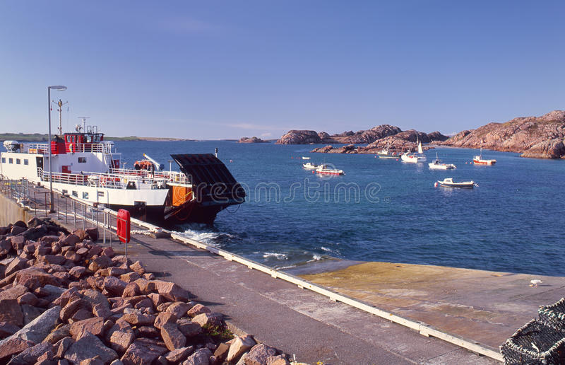 Scottish ferry, Iona, Mull. The small car ferry, that plies the short distance between the holy island of Iona, and the larger isle of Mull in Scotland stock photo