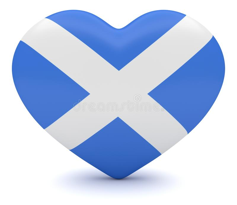 Scottish Flag Heart, 3d illustration royalty free illustration