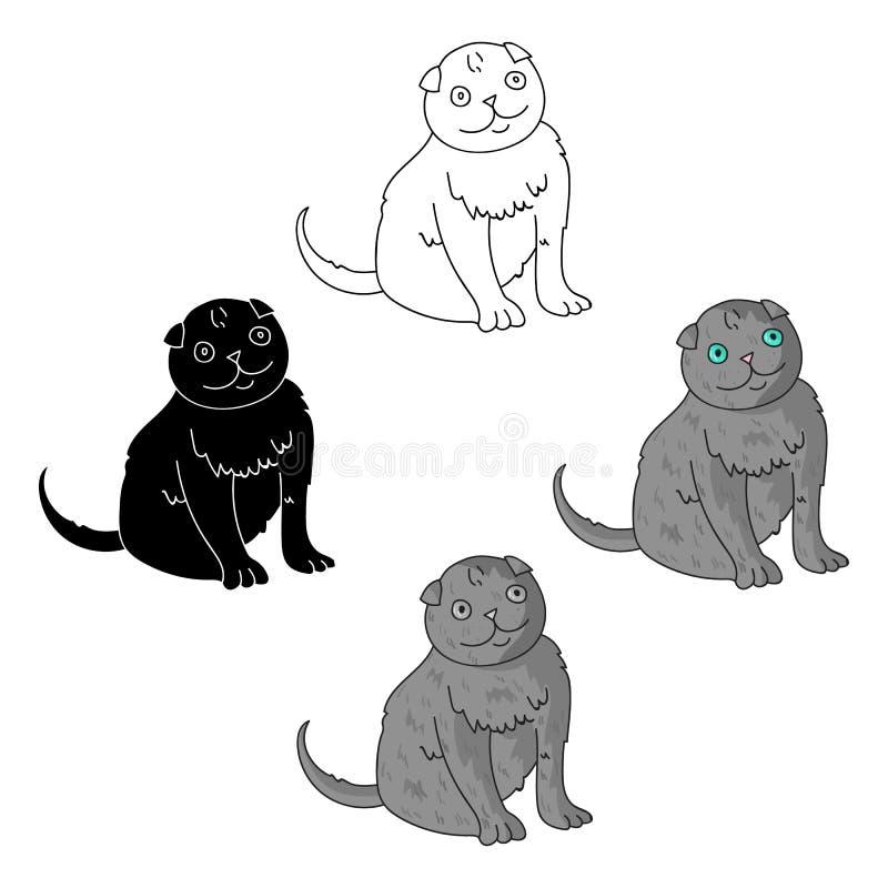 Scottish Fold icon in cartoon,black style isolated on white background. Cat breeds symbol stock vector illustration. royalty free illustration