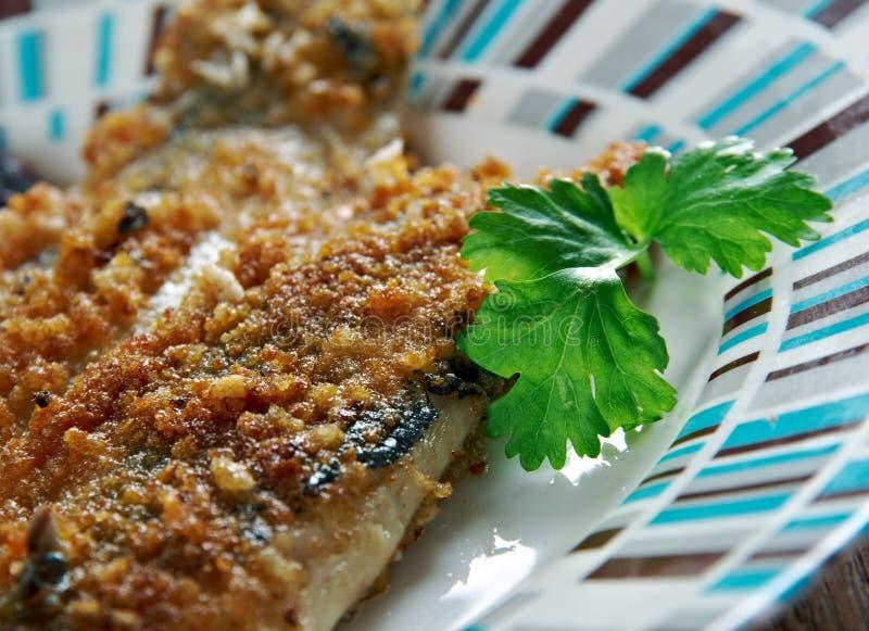 Scottish Herring. Fried fish in Oatmeal stock photos