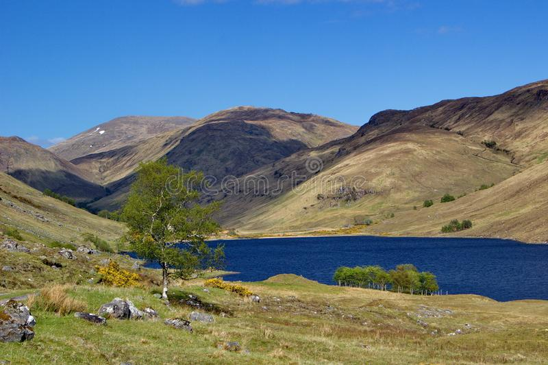 Scottish lake - loch with very intensive blue color on warm sunny day. Scottish lake - loch with very  intensive blue color on warm sunny day royalty free stock photography