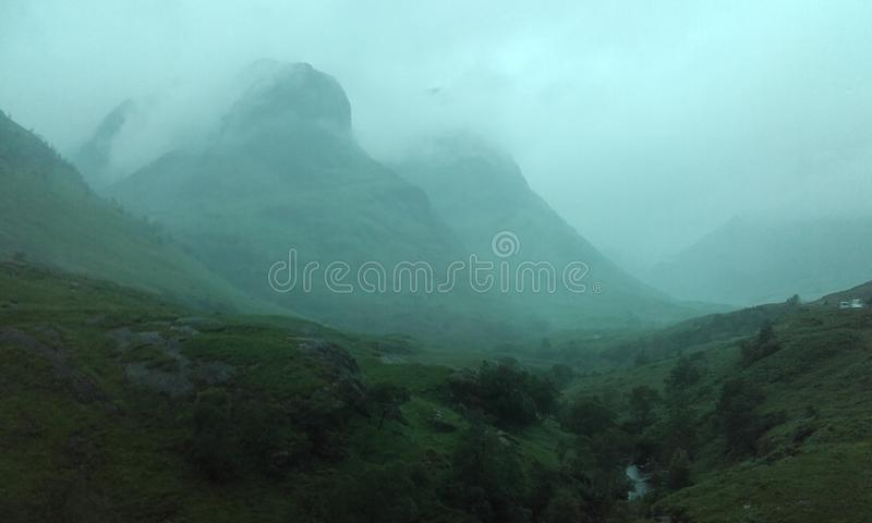 Scottish landscape. Fog in scottish moutain royalty free stock photos