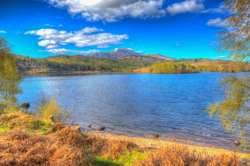 Scottish Loch Garry Scotland UK lake west of Invergarry on the A87 south of Fort Augustus colourful hdr. Beautiful Scottish Loch Garry Scotland UK lake west of stock photography