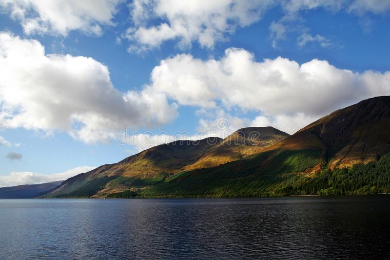 Scottish Loch Ness lake. Loch Ness and the Highlands. Scottish Loch Ness lake. Scottish Highlands, lake and mountains. Lake in a mountain landscape. Mountains Of stock image