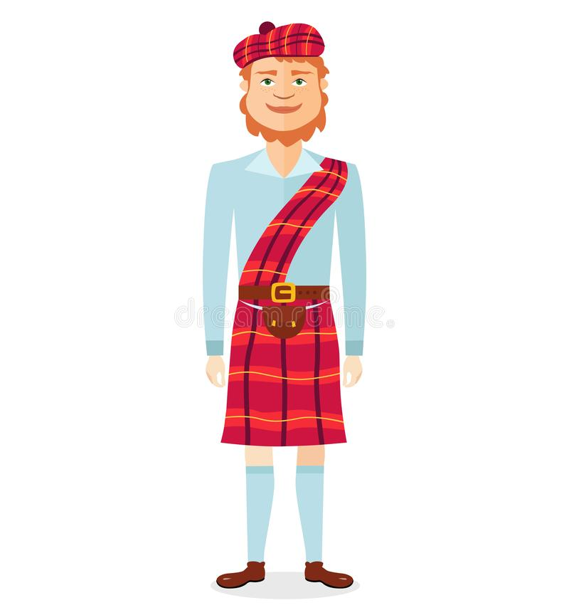 Scottish man in kilt in national clothes flat cartoon vector illustration isolated royalty free illustration