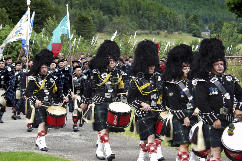Scottish Marching Band at the Lonach Highland Games in Scotland. stock photography