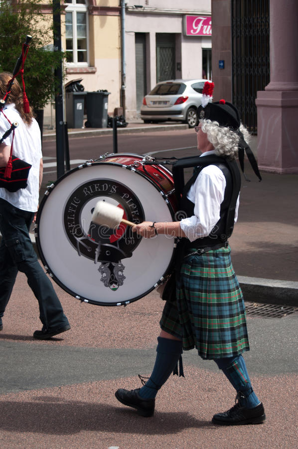 Scottish musicians during the demonstration for peace. Mulhouse - France - 14 june 2015 - scottish musicians during the demonstration for peace stock images