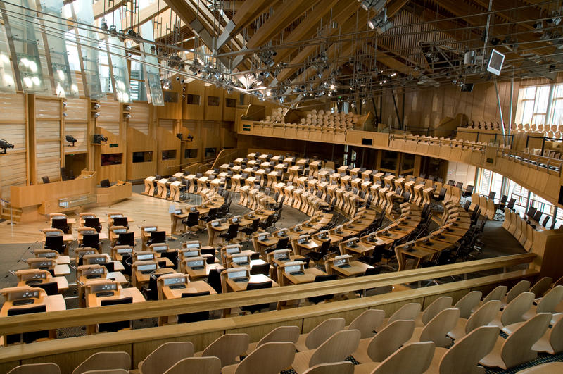 Scottish Parliament Debating Chamber. The debating chamber in the controversial new Scottish Parliament building in Edinburgh stock photography