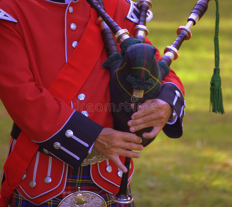 Scottish Piper. Giving a performance at Washington's hq stock photos