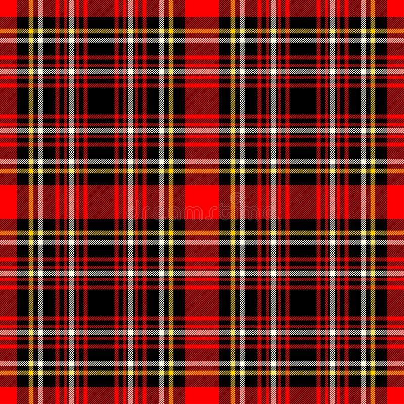 Scottish plaid red and black seamless checkered vector pattern. EPS 10 royalty free stock photography