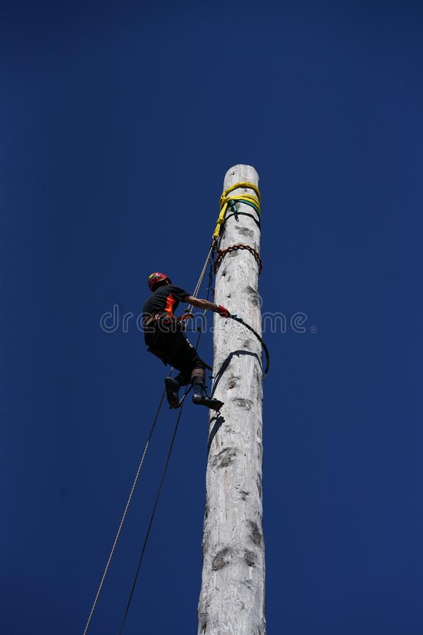 Scottish Pole Climbing and Utility Pole Climbing Championships stock photo