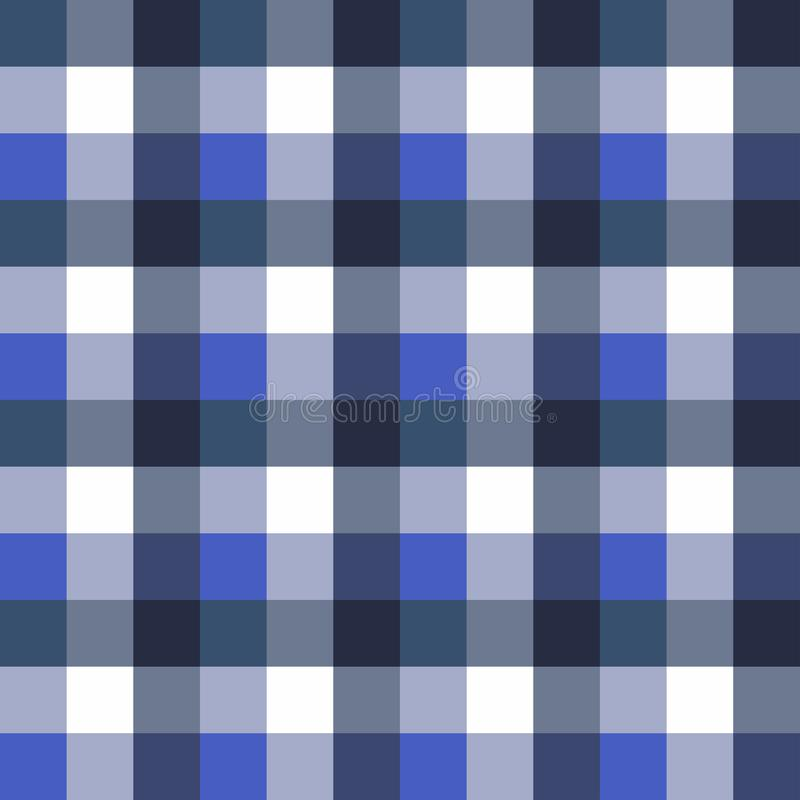Scottish seamless tartan plaid. Retro square tablecloth pattern. Texture with blue colors stock illustration