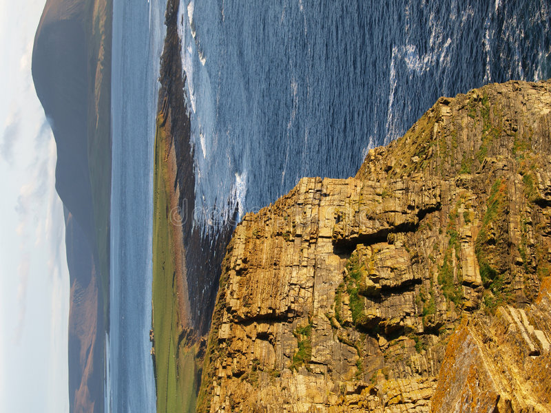 Scottish seaside cliffs stock photos