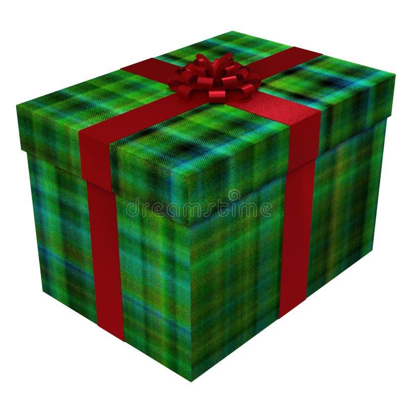 Scottish style plaid gift box - green with red satin ribbon royalty free illustration