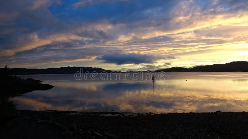 Scottish Sunset across Loch Creran in Argyll and Bute. Sunset in Scotland across Loch Creran in Argyll and Bute in Autumn royalty free stock photography