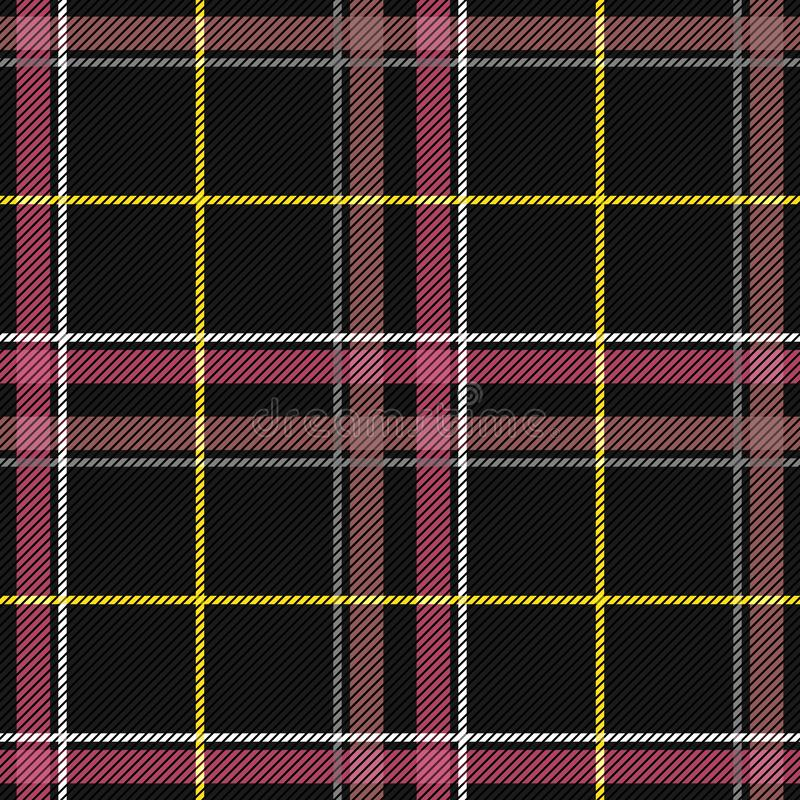Scottish Tartan Checkered Seamless Pattern. Vector Repeat Background. Check fashion tweed black and pink seamless pattern. Tartan repeat element for fashion royalty free illustration