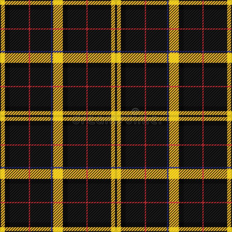 Scottish Tartan Checkered Seamless Pattern. Vector Repeat Background. Check fashion tweed black and yellow seamless pattern. Tartan repeat element for fashion stock illustration