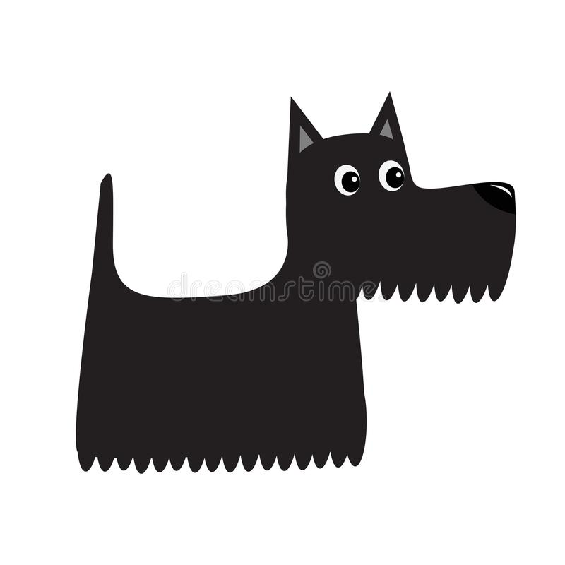 Scottish terrier black dog. Scottie puppy. Cute cartoon character. Pet animal collection. Adopt concept. Flat design. White backgr vector illustration
