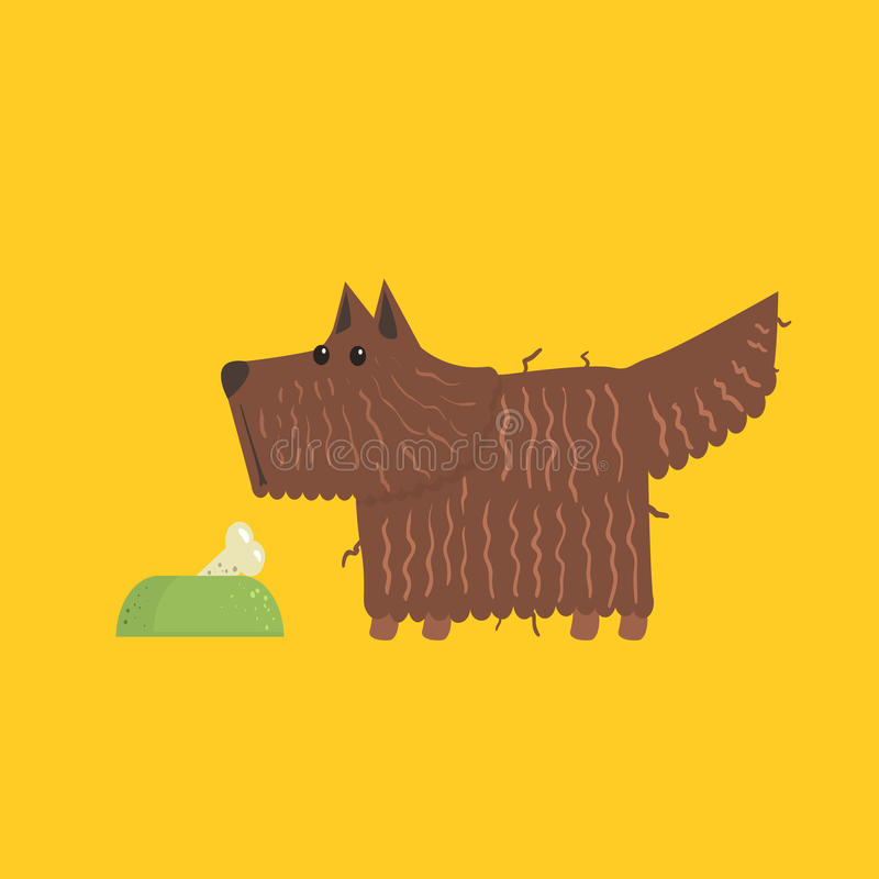 Scottish Terrier With Food Bowl Image. Scottish Terrier With Food Bowl Funny Flat Vector Illustration In Creative Applique Style vector illustration