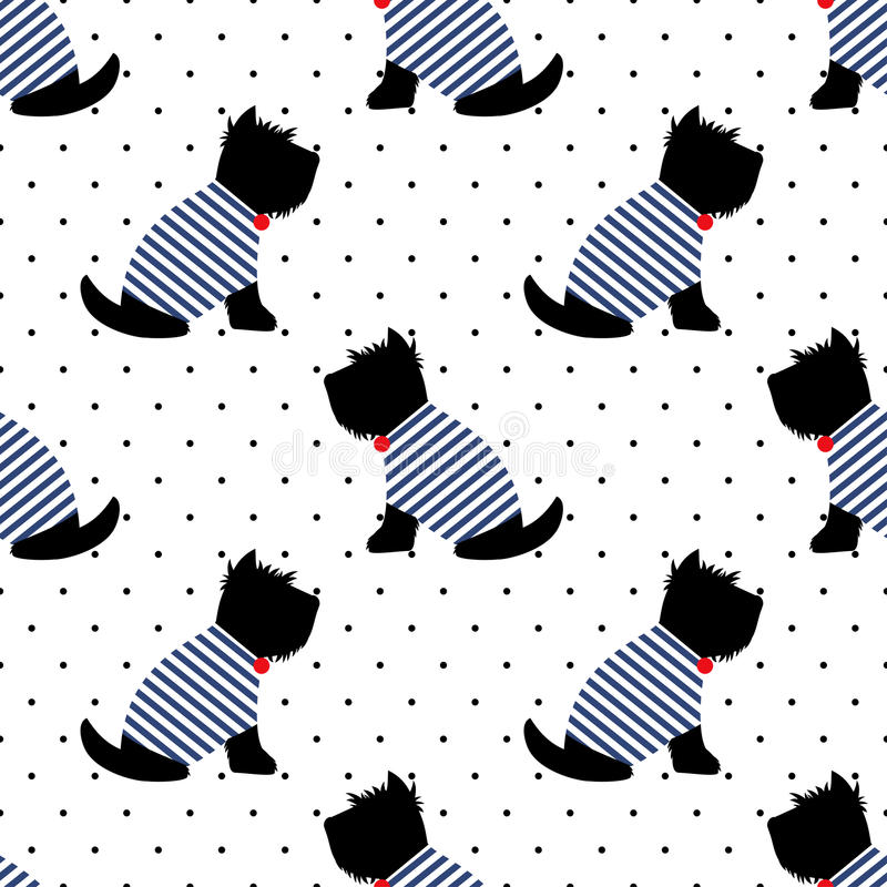 Free Scottish Terrier In A Sailor T-shirt Seamless Pattern. Sitting Dogs On White Polka Dots Background. Royalty Free Stock Images - 69957299