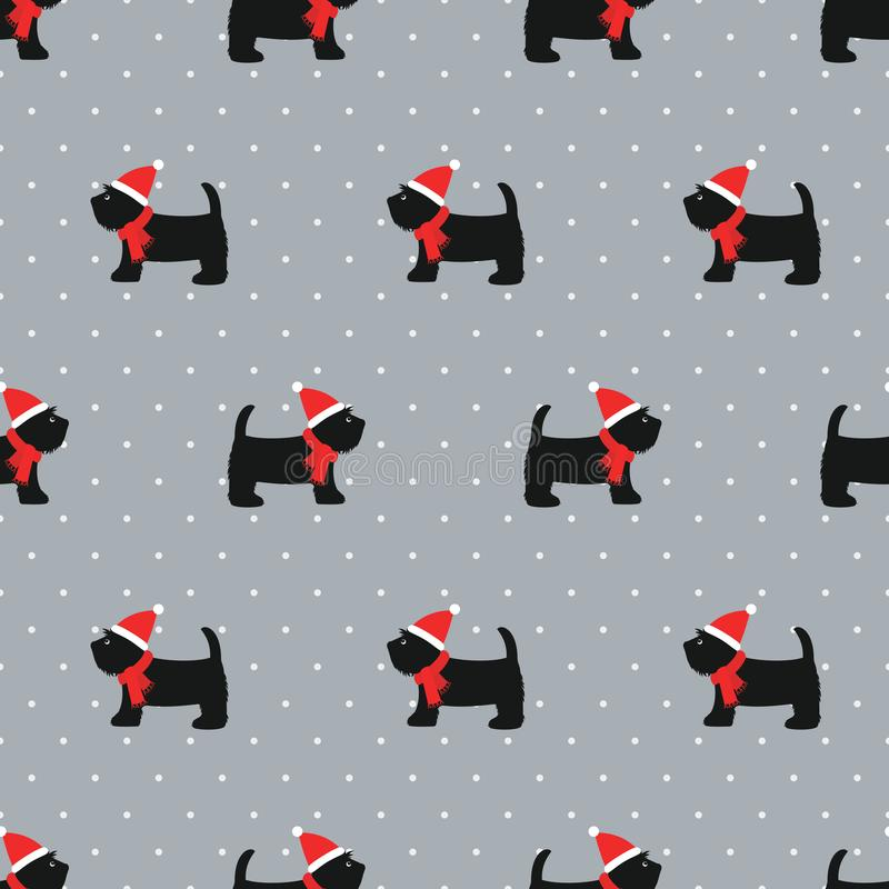 Scottish terrier in xmas hat seamless pattern. stock image