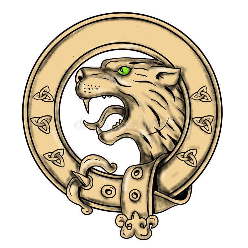 Scottish Wildcat Belt Tattoo vector illustration