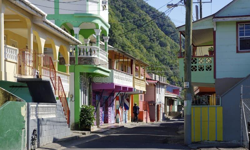 Scotts Hoofd visserijdorp in Dominica stock afbeelding