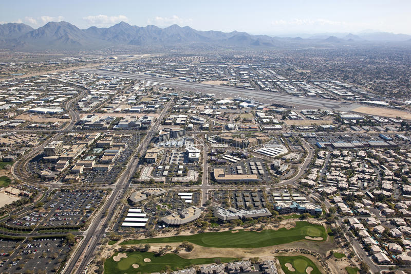 Scottsdale Airport. Scottsdale, Arizona Airport and surrounding shopping, restaurants and work places stock photos