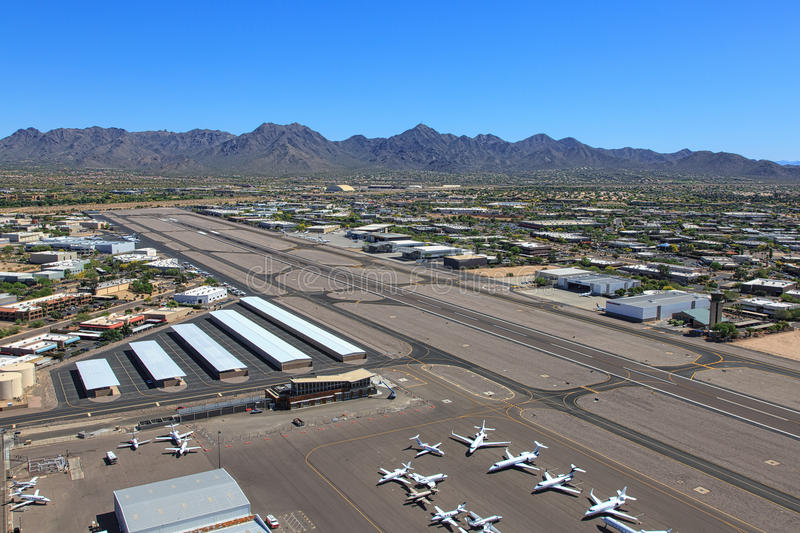 Scottsdale Airport. From above looking towards the northeast and the McDowell Mountains royalty free stock photos
