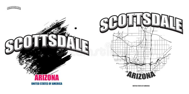 Scottsdale, Arizona, deux illustrations de logo illustration libre de droits