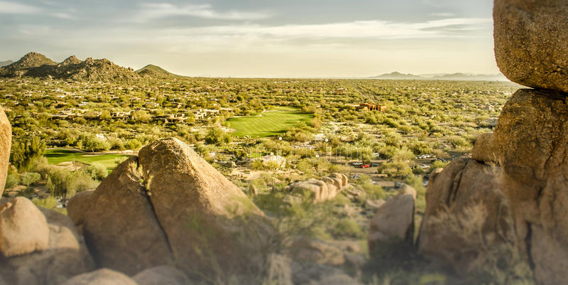 Scottsdale, Arizona, terrain de golf de paysage photographie stock
