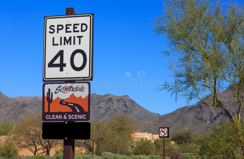 Scottsdale clean & scenic. Scottsdale, Arizona clean and scenic sign in a neighborhood near the McDowell Mountains royalty free stock image