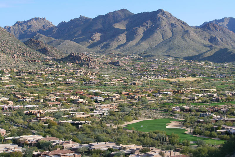 Scottsdale Golf Course Community. An aerial view of an upscale golf community with mountains in the background in North Scottsdale, Arizona stock photography