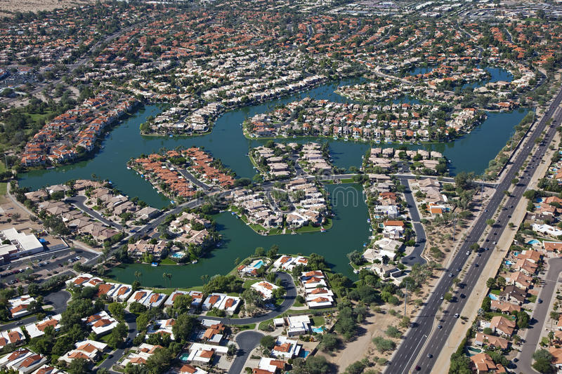 Scottsdale Lake front homes royalty free stock images