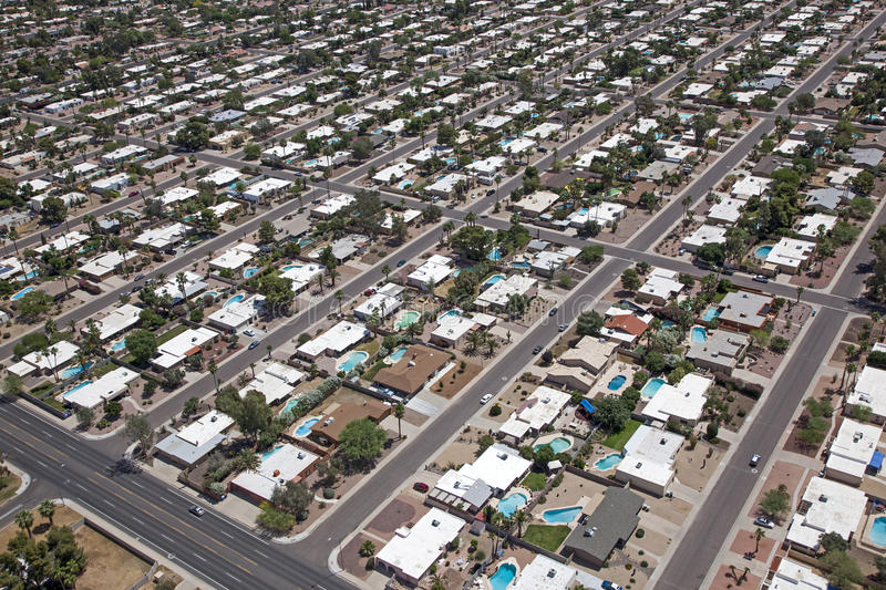 Scottsdale Suburb. With swimming pools and palm trees stock images