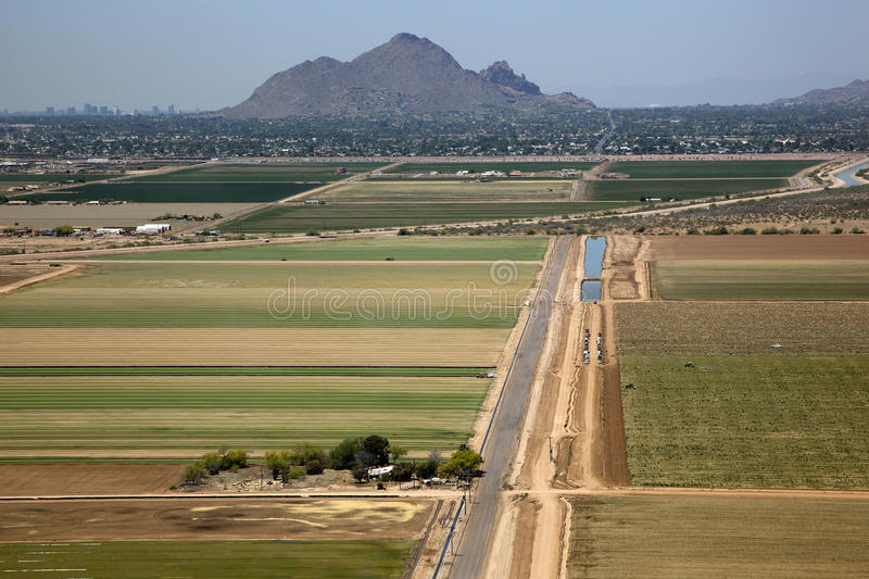 Scottsdale to Glendale. View of picking produce from fields in Scottsdale to the stadium in Glendale stock photo