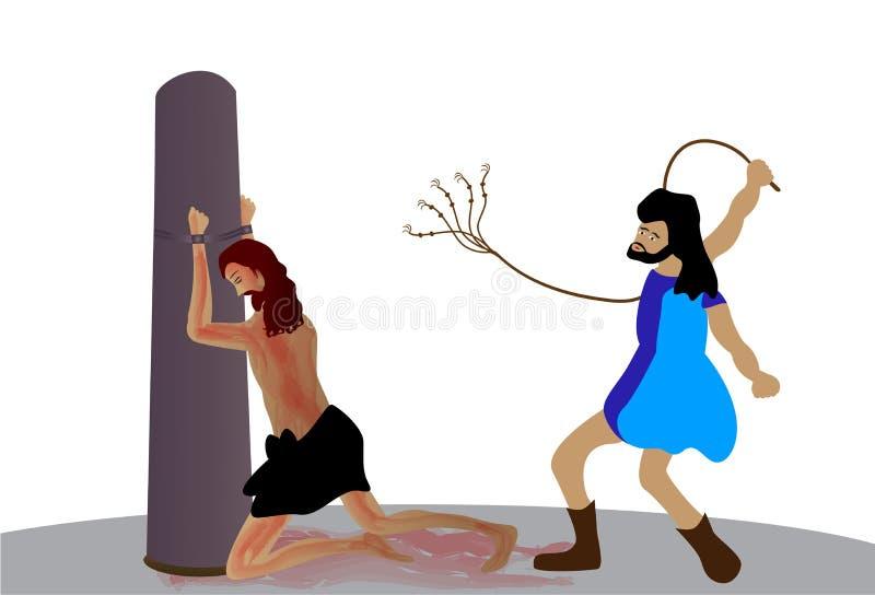 Scourging Иисуса Христоса иллюстрация штока