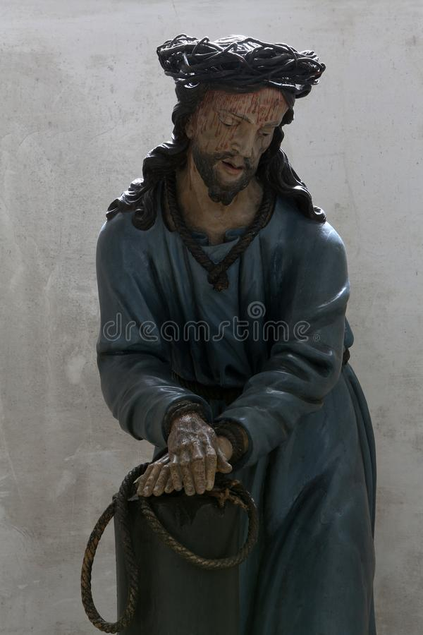 Scourging at the Pillar. Basilica of St. Vitus in Ellwangen, Germany stock photo