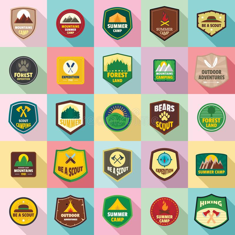 Scout badge emblem stamp icons set, flat style stock illustration