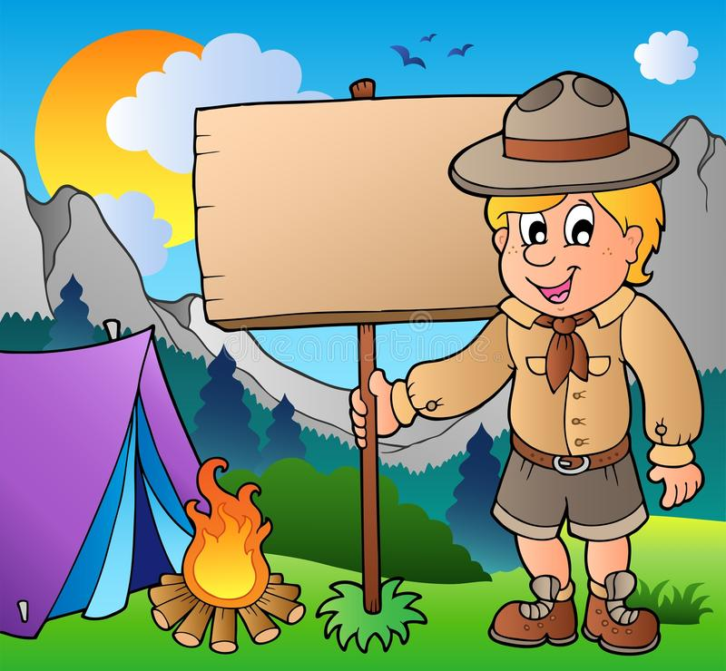 Download Scout Boy Holding Board Outdoor Stock Vector - Image: 19397342