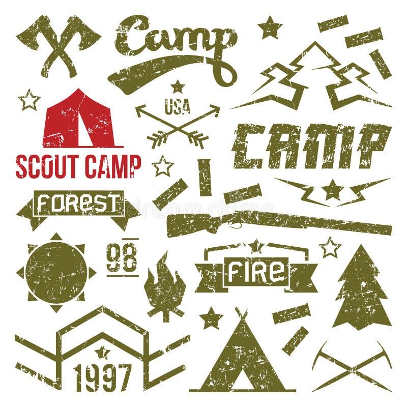 Scout camp badges stock illustration