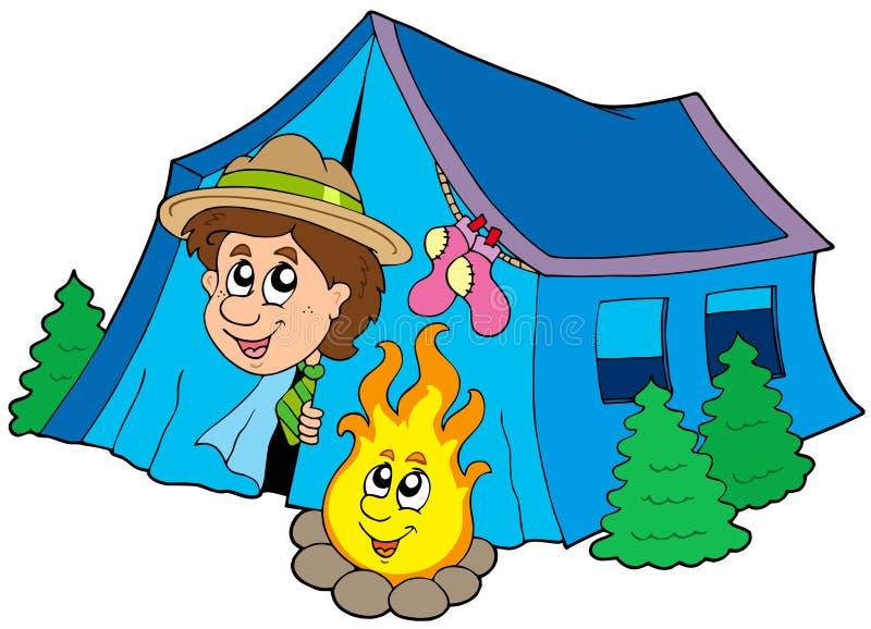 Scout campant dans la tente illustration de vecteur
