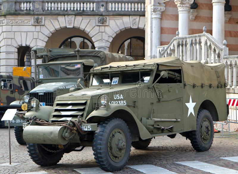 Scout Car, a military vehicle used by US Army in the Second World War, during a oldtimer vehicle exhibition stock photos