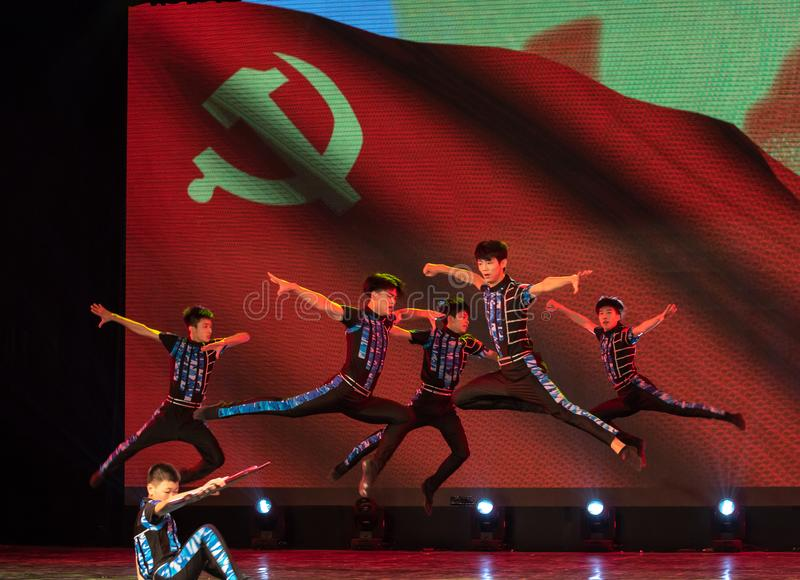 Scout-China classic dance. The dance shows a group of scouts` sitting and living, and their vigorous posture. In June 13, 2018, dance dancers from all over the stock photos
