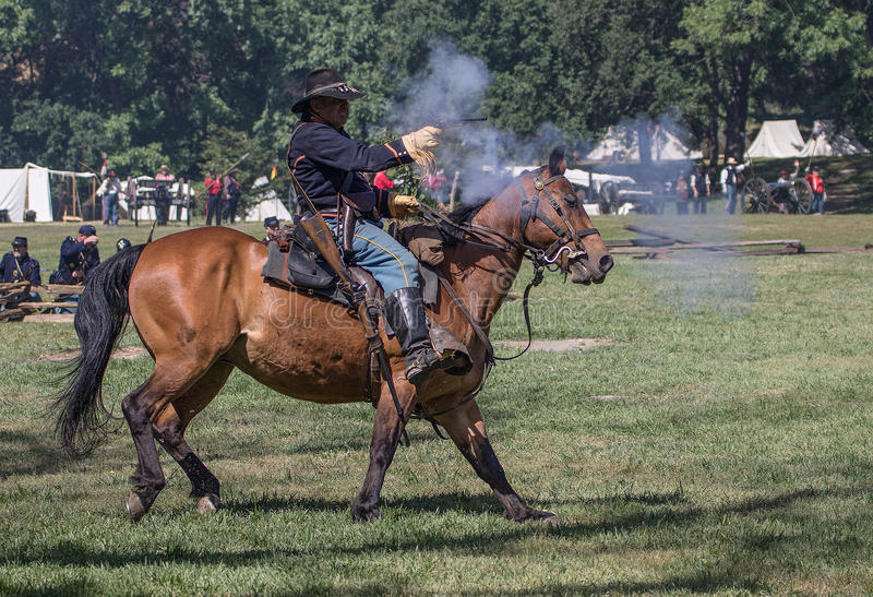 The Scout. Civil War era soldiers in battle at the Dog Island reenactment in Red Bluff, California royalty free stock photos