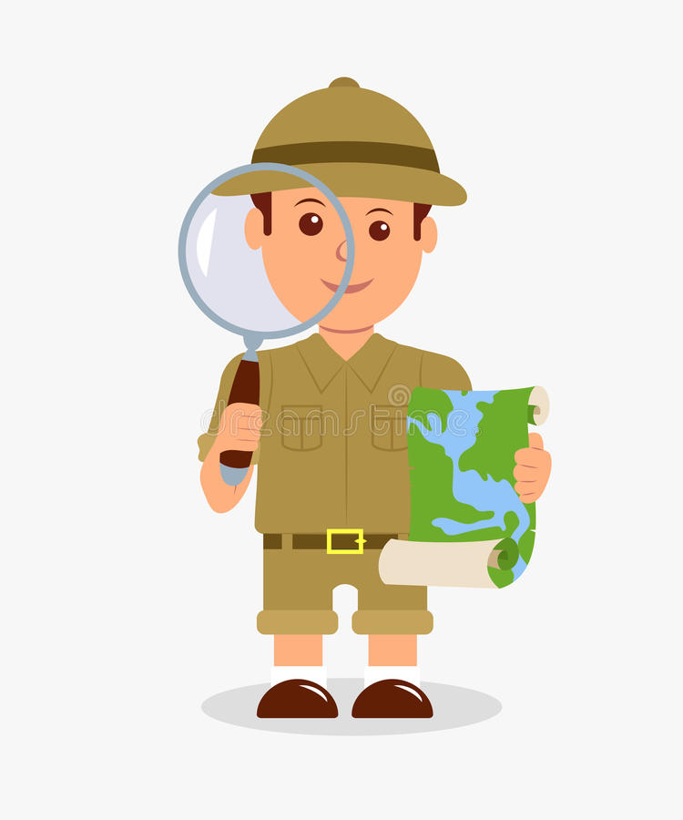 Scout holding a magnifier and a map on a white background. Concept design isolated character explorer boy.  royalty free illustration