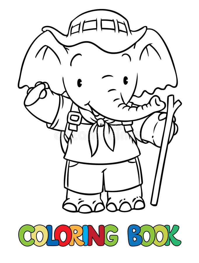 Scout. Little baby elephant. Coloring book. Scout. Funny baby elephant with backpack and stick. Children vector illustration. Coloring book stock illustration