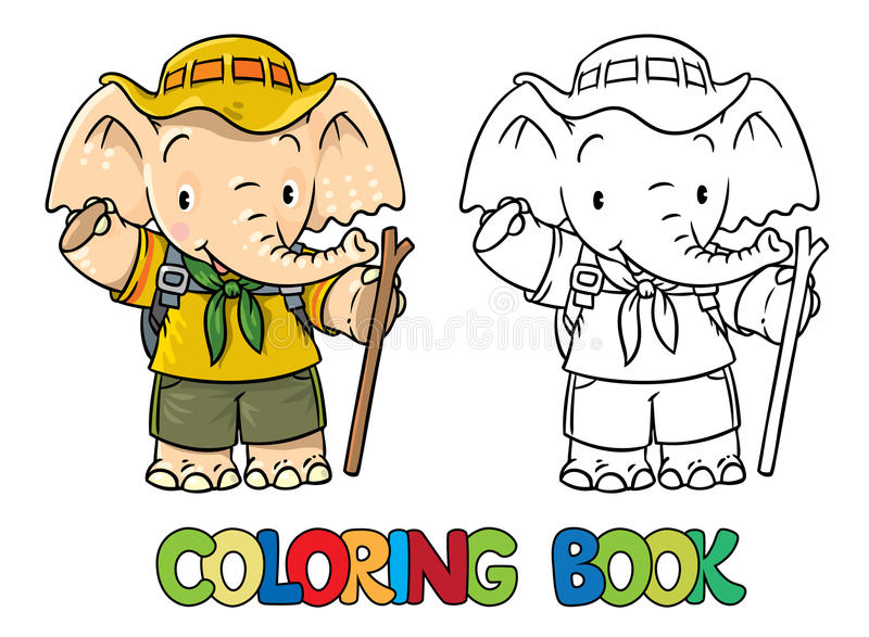 Scout. Little baby elephant. Coloring book. Scout. Funny baby elephant with backpack and stick. Children vector illustration. Coloring book vector illustration