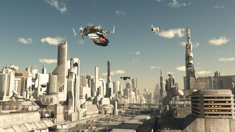 Scout Ship Landing in a Future City vector illustration