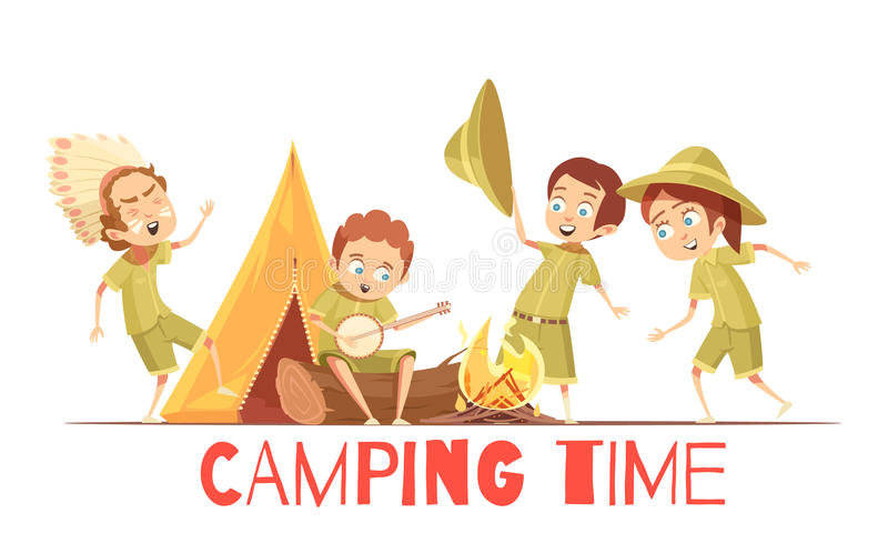 Scouts Camping Retro Cartoon Poster vector illustration